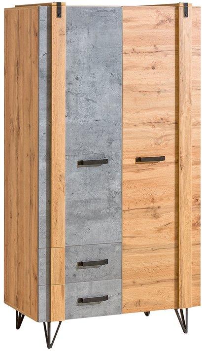 Šatní skřín Leewood 1, dub/šedá