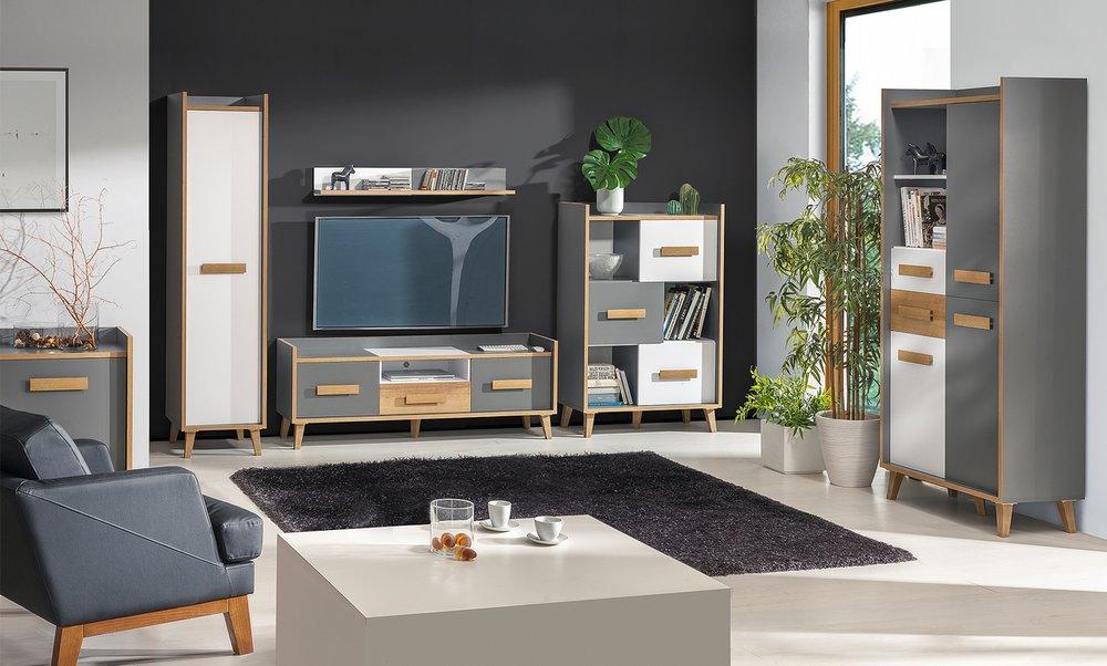 Skandinávský styl, obývací pokoj WINSOR 2, bílá/olše