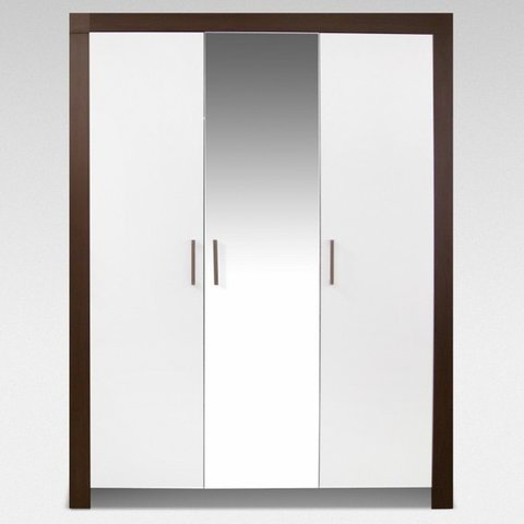 ARKOS Skříň PABLO 140 se zrcadlem, wenge/bílá 141x200x60 Wenge / Bílá