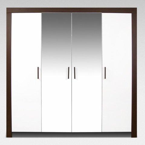 ARKOS Skříň PABLO 200 se zrcadlem, wenge/bílá 200x200x60 Wenge / Bílá