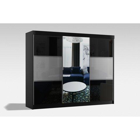 ARKOS Skříň RITA 250 se zrcadlem, bílá 250x216x62 Bílá / Lacobel bílá + lacobel šedá