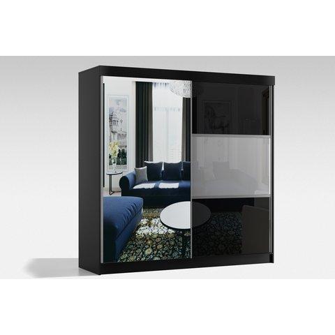 ARKOS Skříň RITA 200 se zrcadlem, bílá 200x216x62 Bílá / Lacobel bílá + lacobel šedá