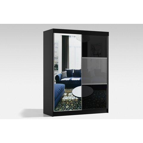 ARKOS Skříň RITA 150 se zrcadlem, bílá 150x216x62 Bílá / Lacobel bílá + lacobel šedá