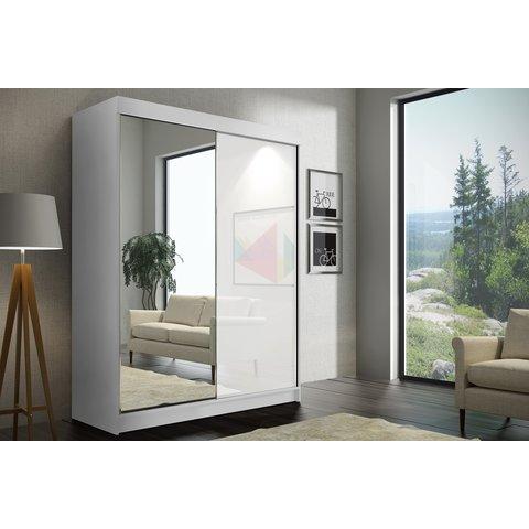 ARKOS Skříň SIERA 150 se zrcadlem, černá 150x216x62 Bílá / Zrcadlo + lacobel bílá