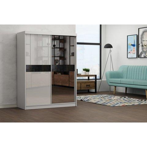 ARKOS Skříň GREY 150 se zrcadlem 150x200x62 Bílá / Lacobel bílá