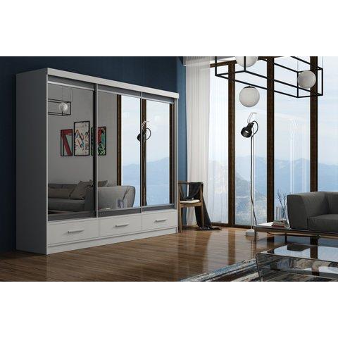 ARKOS Skříň MASSIMO 250 se zrcadlem, bílá 250x216x62 Bílá / Zrcadlo