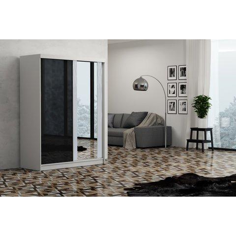 ARKOS Skříň OLIVIA 150, zrcadlo 150x200x62 Bílá / Lacobel černá