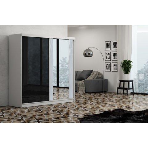 ARKOS Skříň OLIVIA 200, zrcadlo 200x200x62 Bílá / Lacobel černá