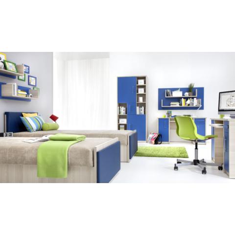 GIB Dětský pokoj pro dvě děti BONDY 17 Jasan / Modrá