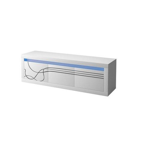PIASKI tv stolek LINDA LED + police 150 LED 165x50x42 + 150x17x20 bílá