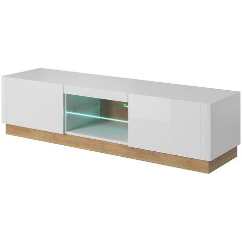 PIASKI Tv stolek ASPEN LED, bílá/bíly lesk 165x41x40 bílá / bílá lesklá / riviera