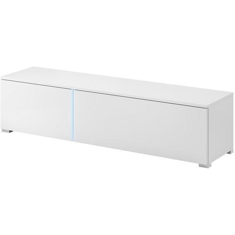 PIASKI Tv stolík STONE LED, bílá/bílý lesk 151x34x37 bílá / bílý lesk