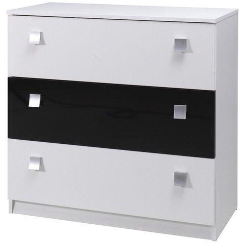 MARIDEX komoda LAVERN 92x88x40 bílá / černý lesk