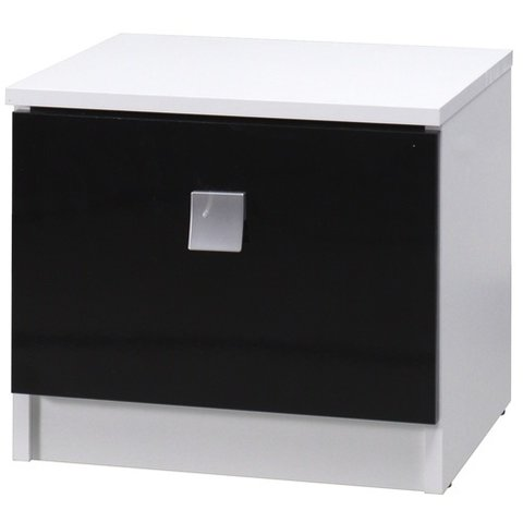 MARIDEX noční stolek LAVERN 61x36x35 bílá / černý lesk