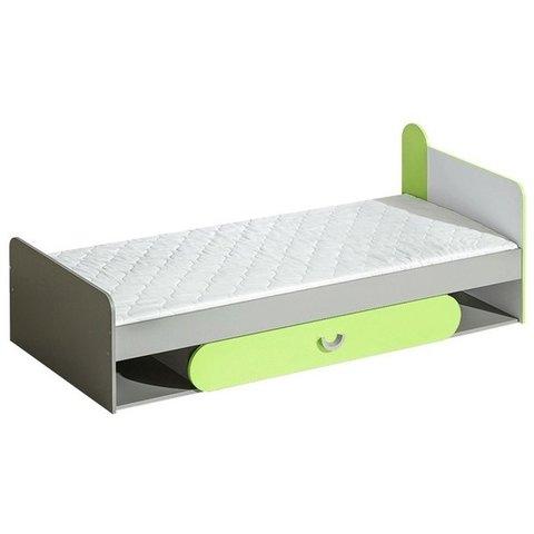 DOLMAR postel s úložným prostorem FILIP 13, zelená 84x69,7x198 grafit / bílá / zelená