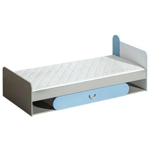 DOLMAR postel s úložným prostorem FILIP 13, tyrkysová 84x69,7x198 grafit / bílá / tyrkysová