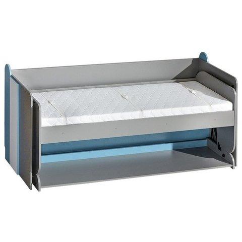 DOLMAR postel se stolem FILIP 14, tyrkysová 91x98x214 grafit / bílá / tyrkysová