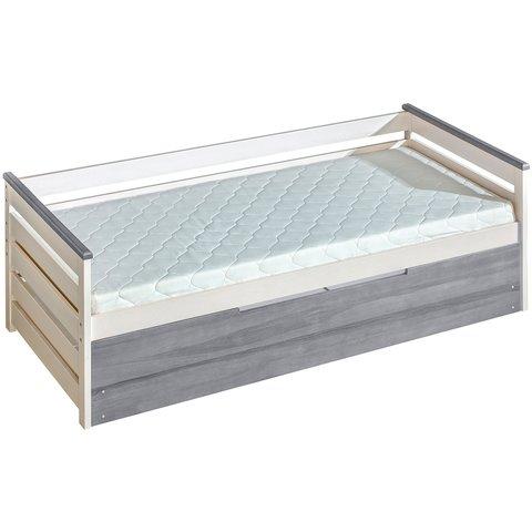 DOLMAR Dětská postel z masivu ASTON 1 s úložným prostorem, borovice bílá/popel 210x98x74 borovice bílá / popel