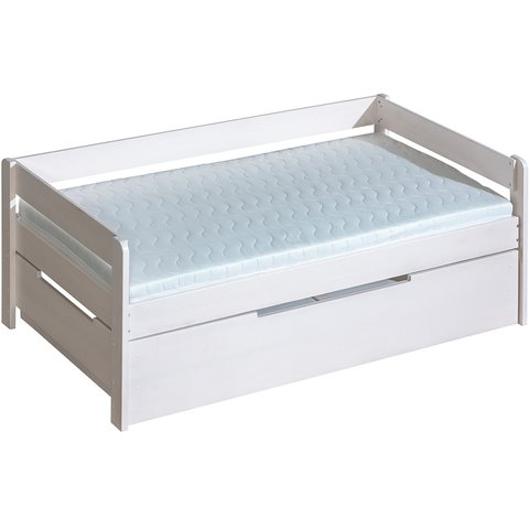 DOLMAR Bílá postel z masivu BOBÍK s úložným prostorem, 200x90 210x182x75 borovice bílá