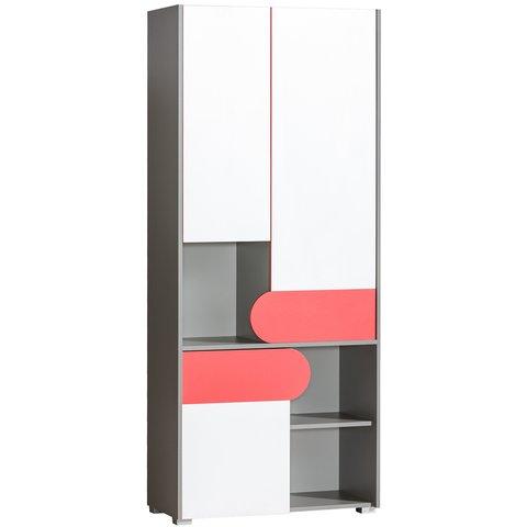 DOLMAR policová skříň FILIP 2 80x189,5x38 grafit / bílá / malinová