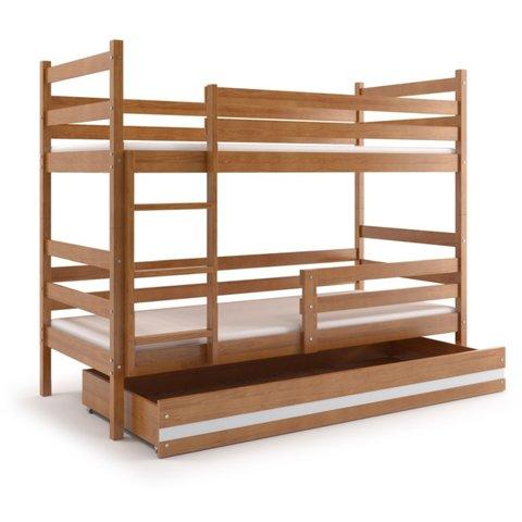 BMS Patrová postel EMILY 2 z masivu s úložným prostorem olše / bílá