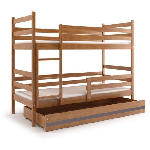 BMS Patrová postel EMILY 2 z masivu s úložným prostorem olše / grafit