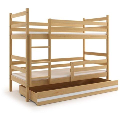 BMS Patrová postel EMILY 2 z masivu s úložným prostorem borovice / bílá