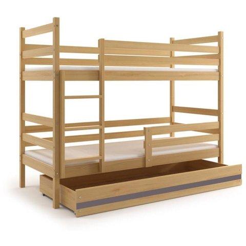 BMS Patrová postel EMILY 2 z masivu s úložným prostorem borovice / grafit