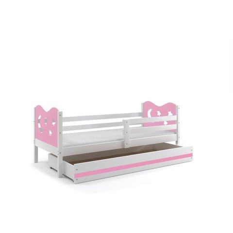 BMS Dětská postel s úložným prostorem MÍŠA 1 bílá / růžová