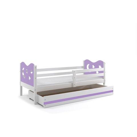 BMS Dětská postel s úložným prostorem MÍŠA 1 bílá / fialová