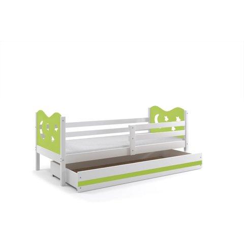 BMS Dětská postel s úložným prostorem MÍŠA 1 bílá / zelená