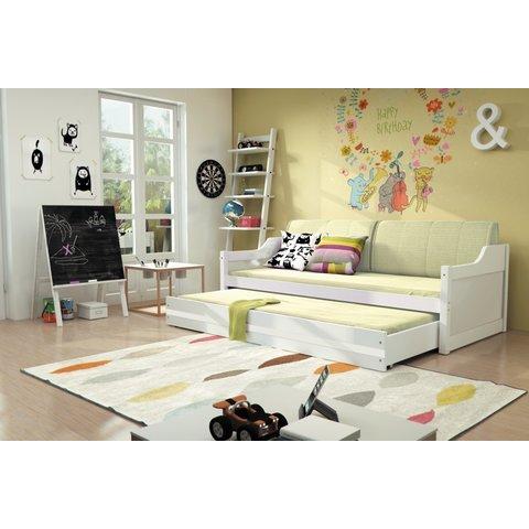 BMS Dětská postel s přistýlkou DENIS, bílá bílá / bílá
