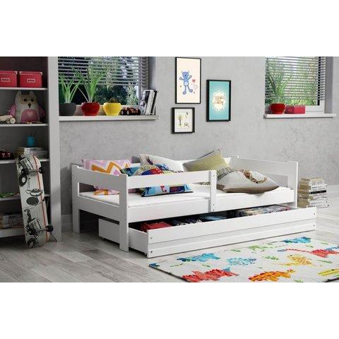 BMS Dětská postel s úložným prostorem HOLLY, 80x160 bílá / bílá