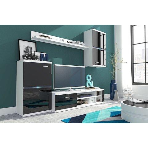 LASKI Obývací stěna IRVIN LED, bílá/černý lesk 210x175x31-50 bílá / černý lesk